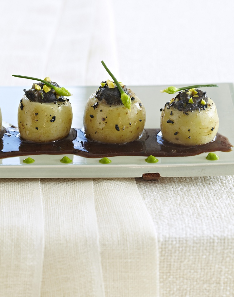 Escargots in Potato Cups w/ Black Truffles,Toasted