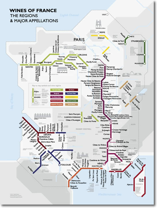 Navigate French Wine Appellations With Subway Metro Wine Map - French metro map