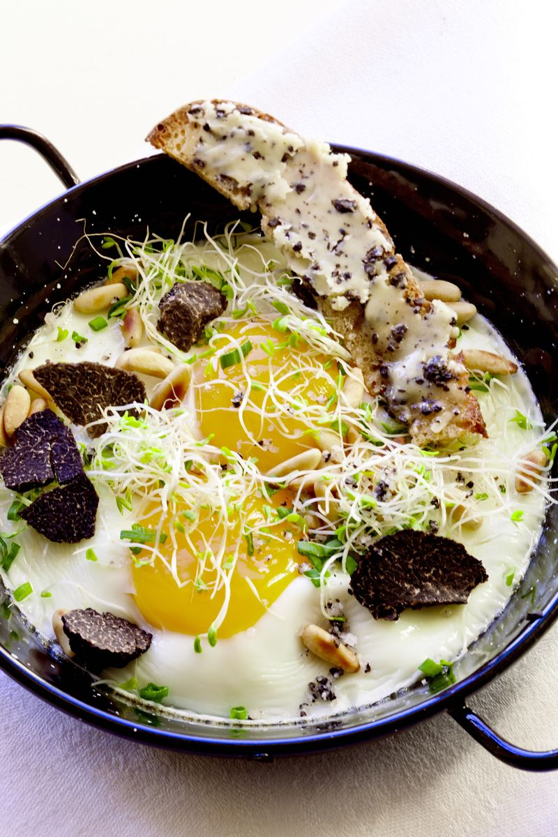 Baked Eggs with Pine Nuts, Sprouts, and Truffles (2)
