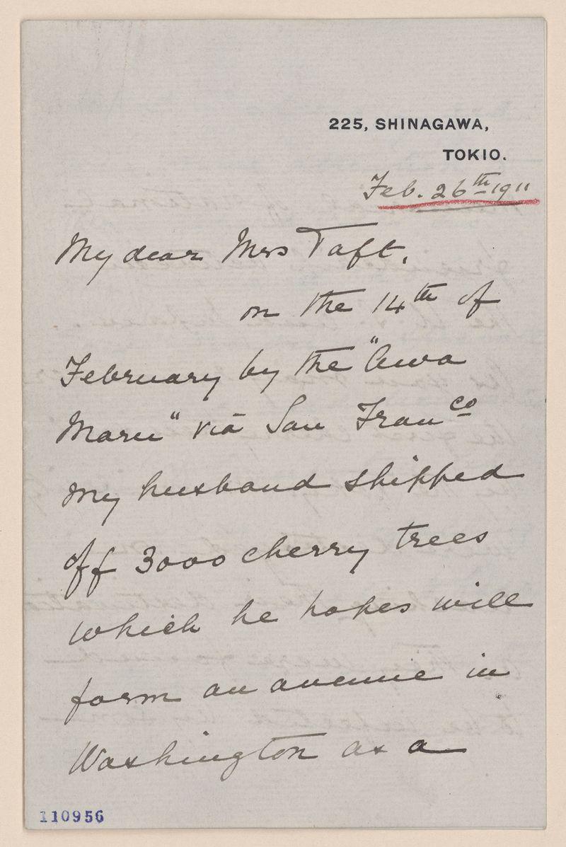 Letter of shipment of cherry trees