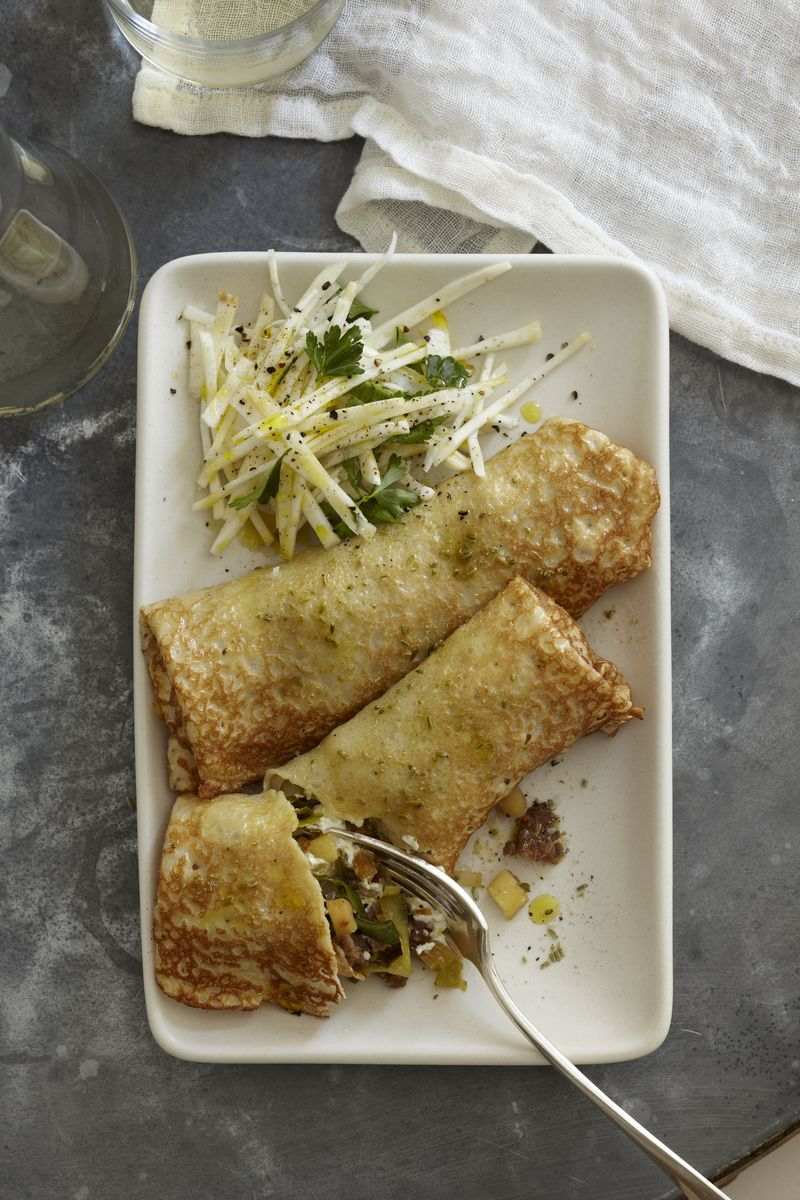Crepes_Leek, Apple, Fennel Sausage and Goat Cheese