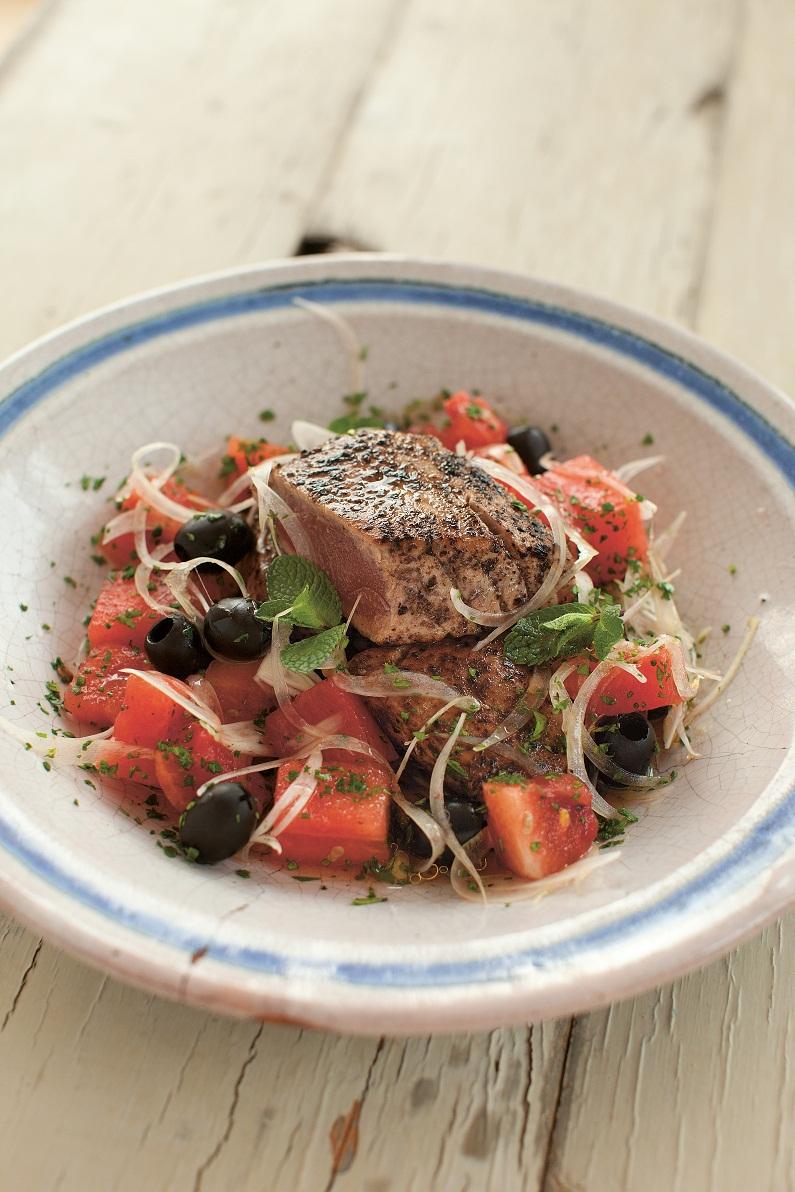 Under 25 Minutes Recipe Sumac Crusted Tuna With Watermelon Salad