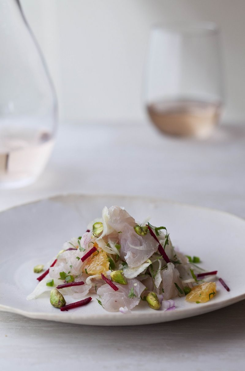 Fluke Ceviche with Beets and Fennel