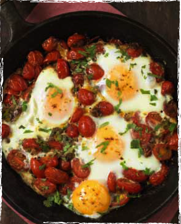 One pan spicy eggs image
