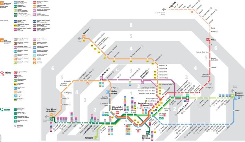 Barcelona subway map includes latour de carol