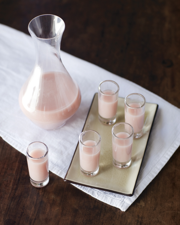 Creamy pink sake cocktail