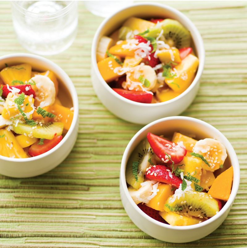Tropical fruit salad with sriracha