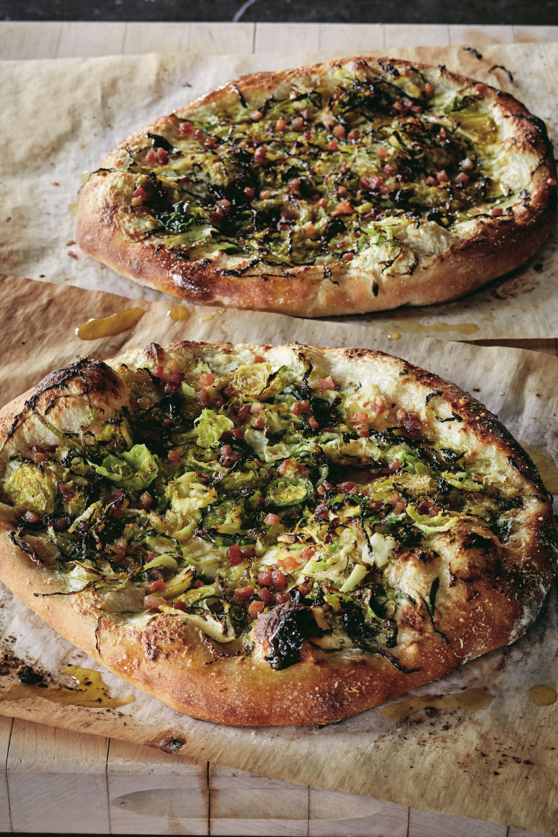Brussel Sprouts Pizza (Modern Comfort Food photo credit Quentin Bacon)