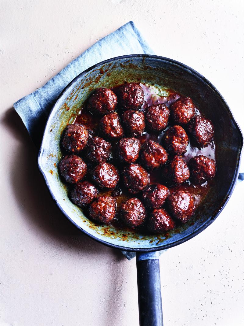 Pomegranate molasses and honey-glazed meatballs